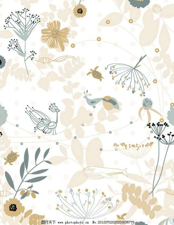 卡通动植物背景 动物 植物 孔雀 鲜花 绿叶 花朵 花草 矢量 设计 素材