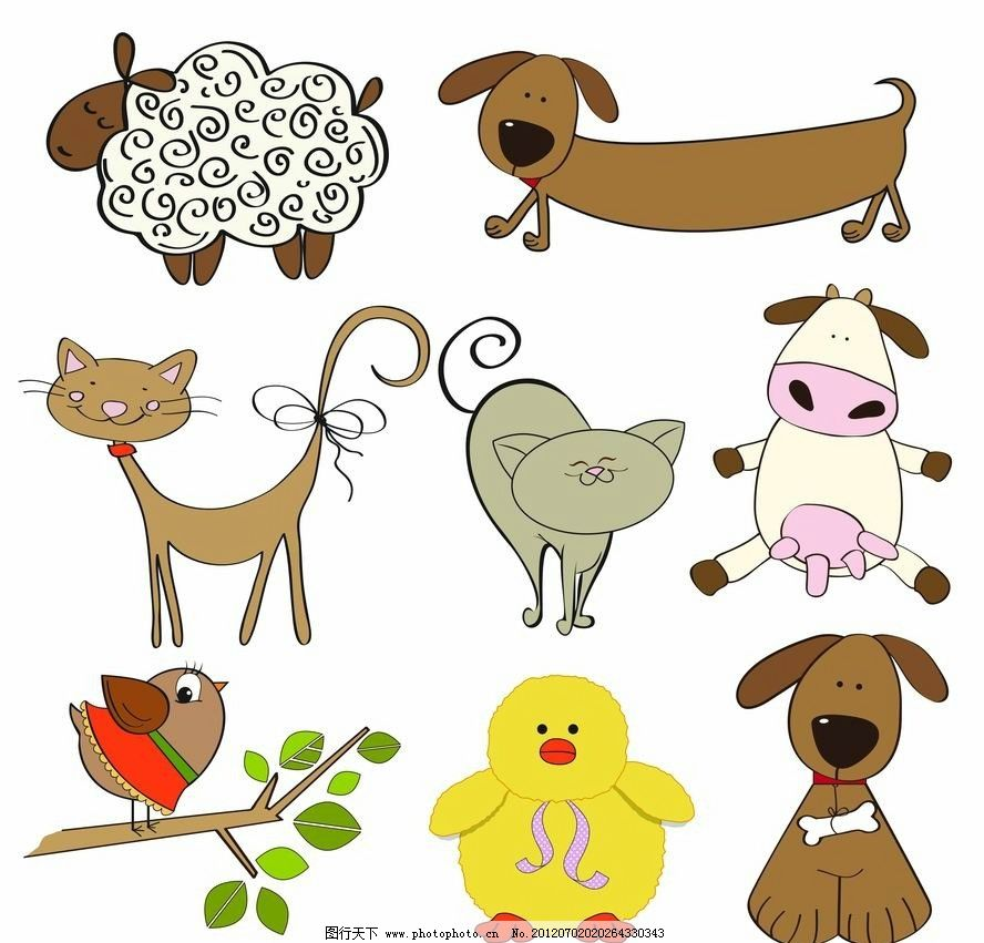 可爱卡通动物小鸟 小鸭 绵羊 小狗 小猫 表情 有趣 矢量 手绘可爱花纹