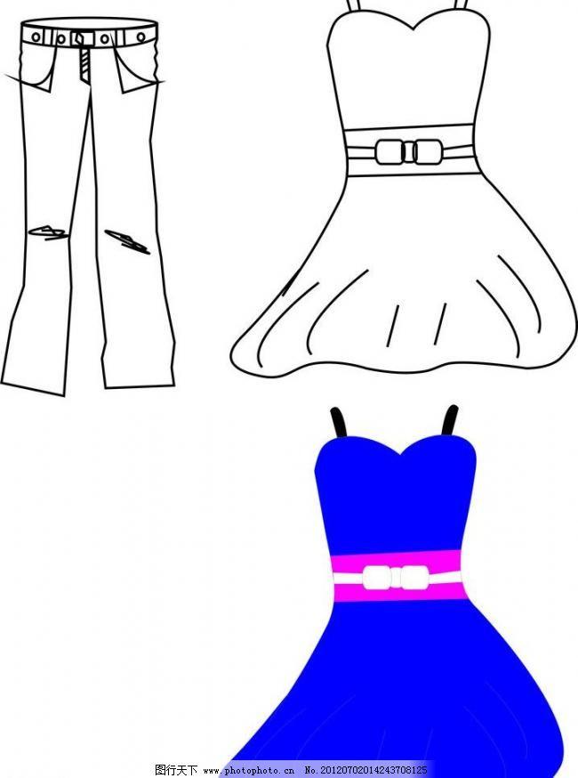 蓝色裙子 连衣裙 唯美裙子 服装设计 广告设计 矢量 cdr 其他服装素材