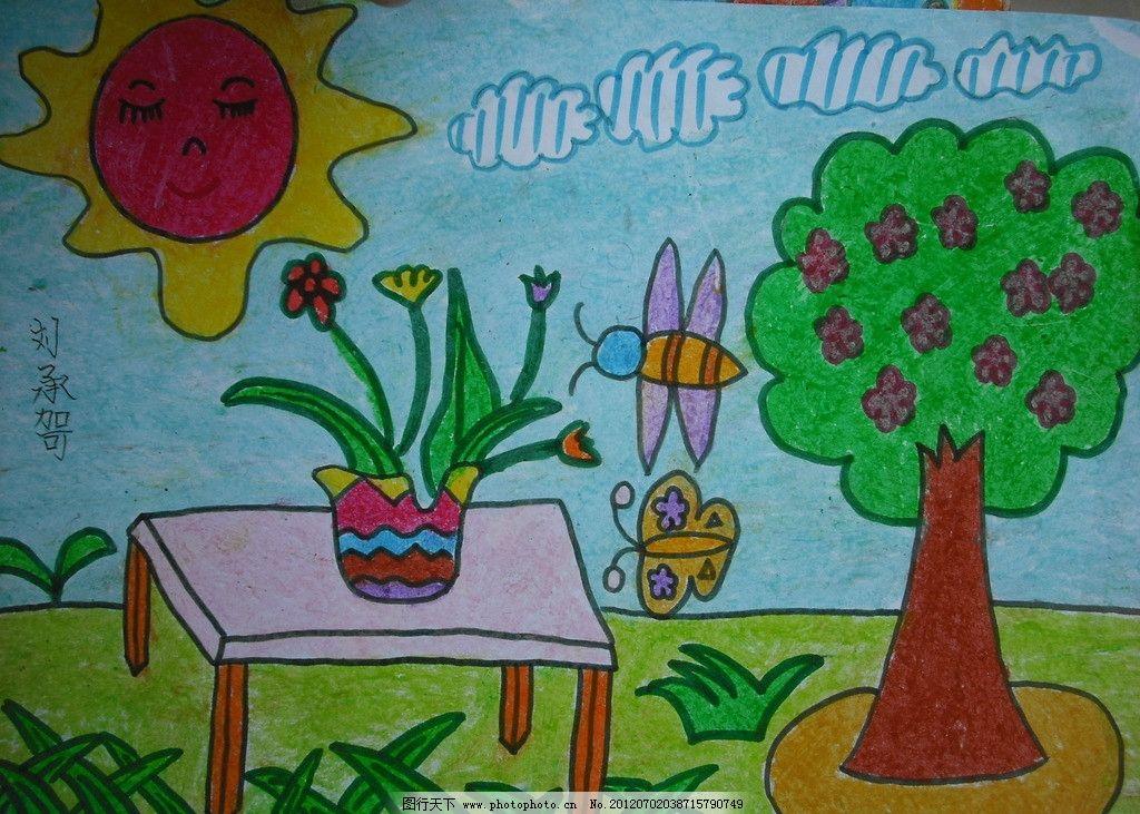 儿童蜡笔画风景图片