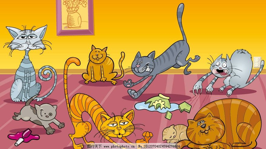 可爱小猫 卡通 小猫 表情 动作 滑稽 幽默 动物 可爱 手绘 时尚 梦幻