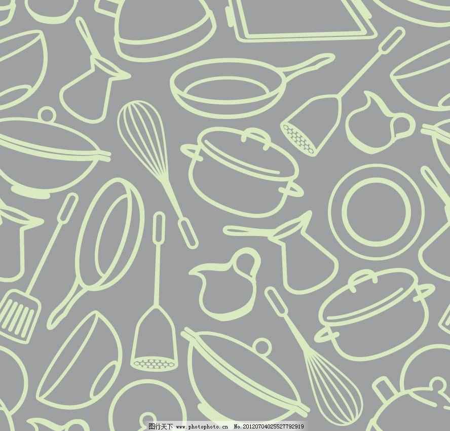 手绘厨房餐具背景图片