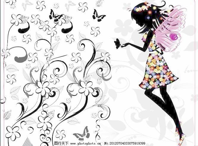 广告设计 蝴蝶 蝴蝶美女 花 花纹 美女 其他设计 矢量图 蝴蝶美女矢量