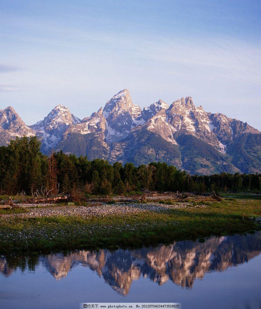 高山绿水 高山 绿水 树木 小河 倒影 石头 白云 天空 山水风景 自然景