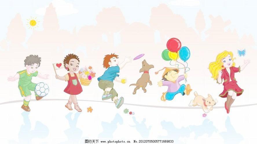 踢足球 花篮 爱心 扔飞盘 捉蝴蝶 小女孩 树林 树木 剪影 卡通 儿童