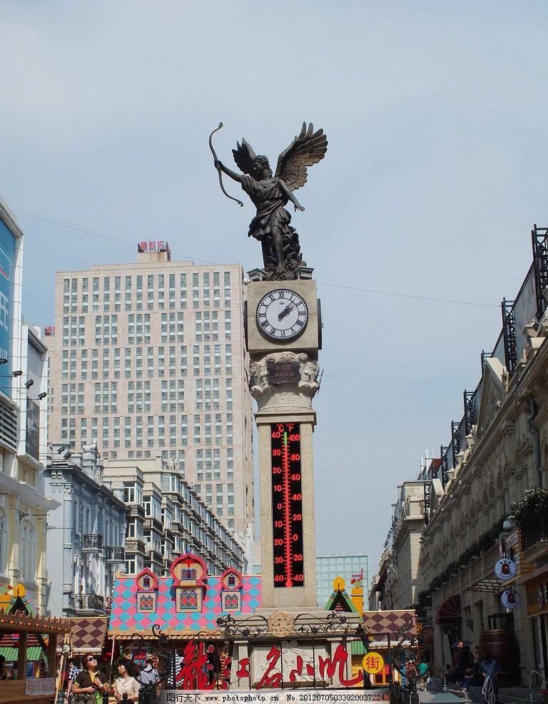 哈尔滨钟塔 哈尔滨 钟塔 欧式 时钟 温度计 天使 雕塑 弓箭 摄影 旅游