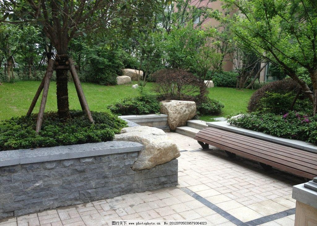 公园 风景 山水 自然 景观 公园一角 绿树 石头 绿色 园林建筑 建筑