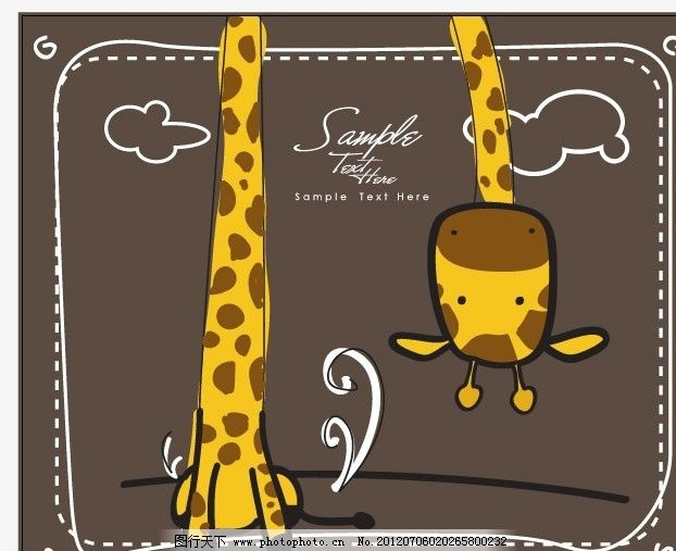 可爱的长颈鹿卡片 长颈鹿 可爱 儿童 圆点 线条 手绘 卡片 时尚 文具