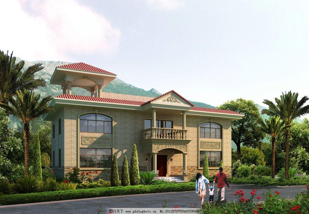 欧式别墅外观效果图 豪华 建筑 别墅设计