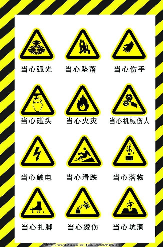当心标志 小心当心 建筑工地 警告 触电 扎脚 防火 有电 标志设计