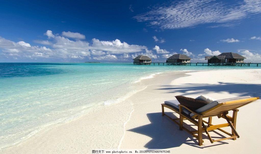 海边美景 海边 沙滩椅 蓝天 沙滩 小岛 倒影 自然风景 自然景观 摄影