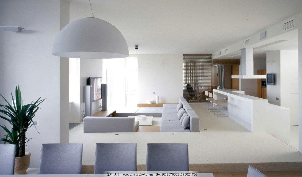 室内设计效果图 客厅设计 家居布置 餐桌 白色沙发 半圆白色吊灯 3d