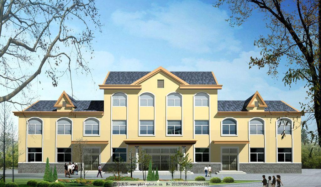 欧式建筑效果图 欧式 建筑 三门 三层 办公楼 角楼 复古        cad