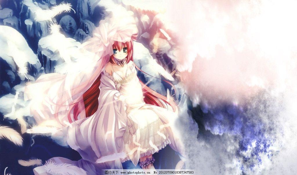 萌少女 少女 纯洁 羽毛 白裙 动漫人物 可爱 设计 美好 红发 光