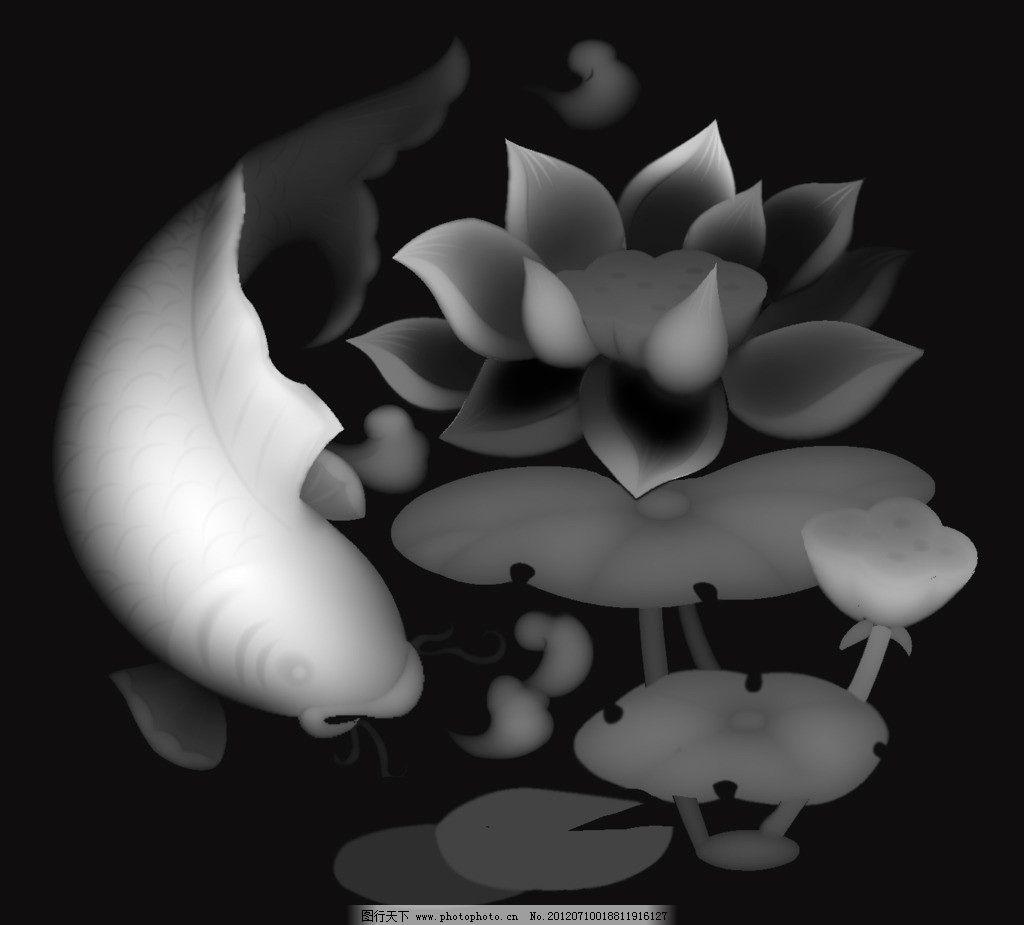 鱼 灰度图 荷花 莲池 家具雕花 浮雕灰度图 浮雕 雕刻 图片素材 浮雕