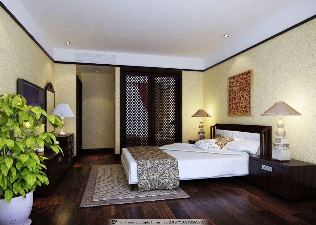 东南亚风格卧室装修 东南也风格        室内设计 环境设计 设计 300