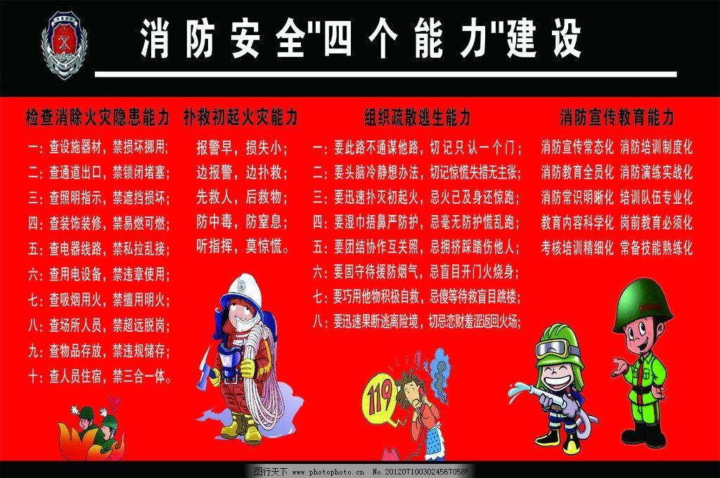消防安全四个能力建设展板图片