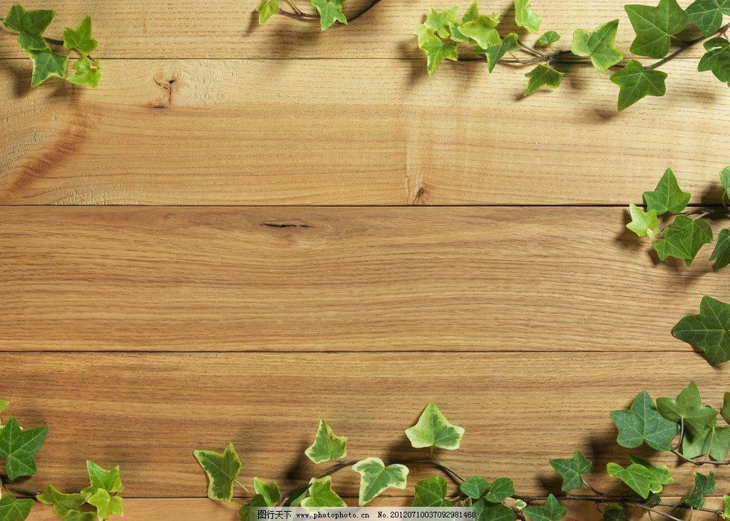 木纹木板 树叶图片