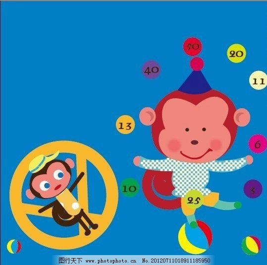 韩国儿童插画 可爱小动物 可爱插图 小猴子 杂技 体育运动 文化艺术