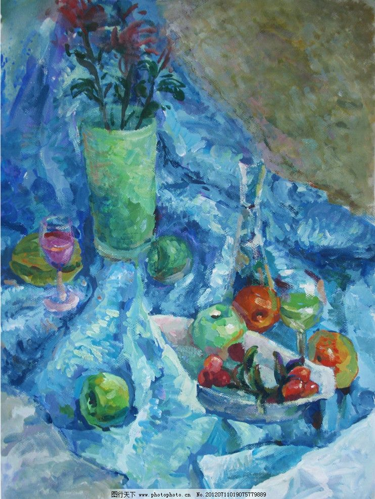 静物色彩 绘画书法 艺术 高考 陶罐 瓷器 盘子 高脚杯 花 桃子 桌布