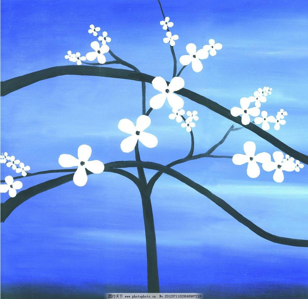 油画风景 花枝 花树 白色小花