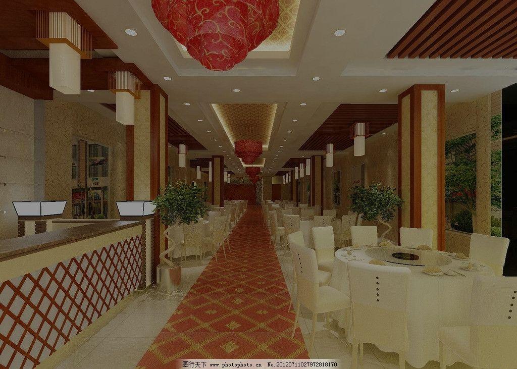 中式餐厅酒楼大厅效果图图片