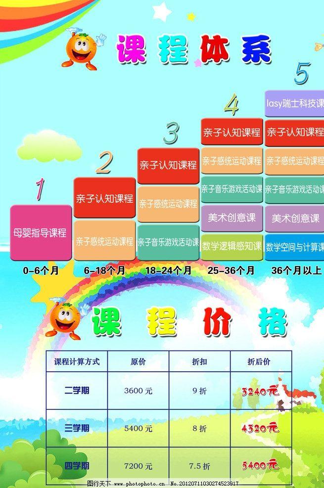 幼儿园课程表 升级立体图 课程 幼儿园 dm宣传单 广告设计模板 源文件