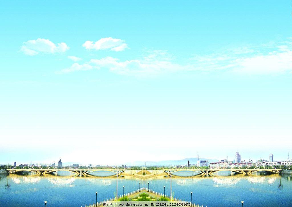 蓝天白云 蓝天白云风景图 风景图 蓝天 白云 远山 房屋 建筑物 七里河