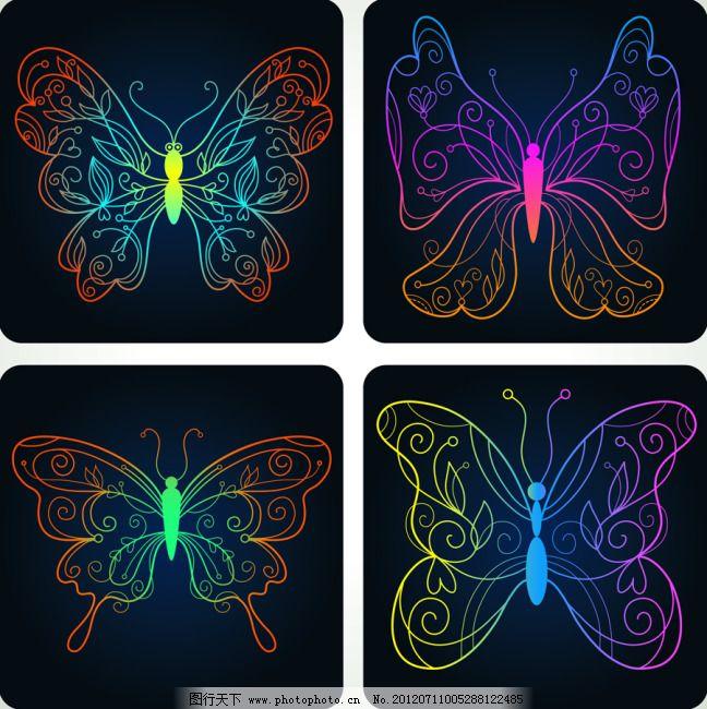 手绘蝴蝶图案 手绘蝴蝶图案免费下载 背景 精美 矢量素材 先搞