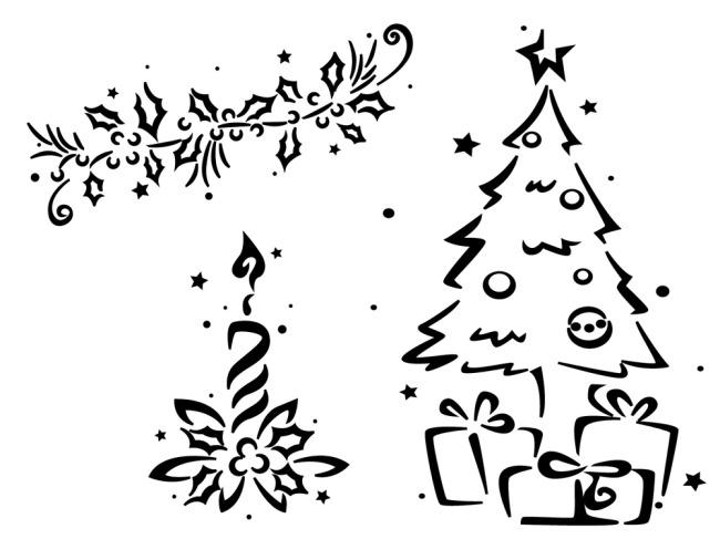 圣诞树线条剪影免费下载 插画 单色 吊球 花纹 礼盒 礼物 圣诞节 圣