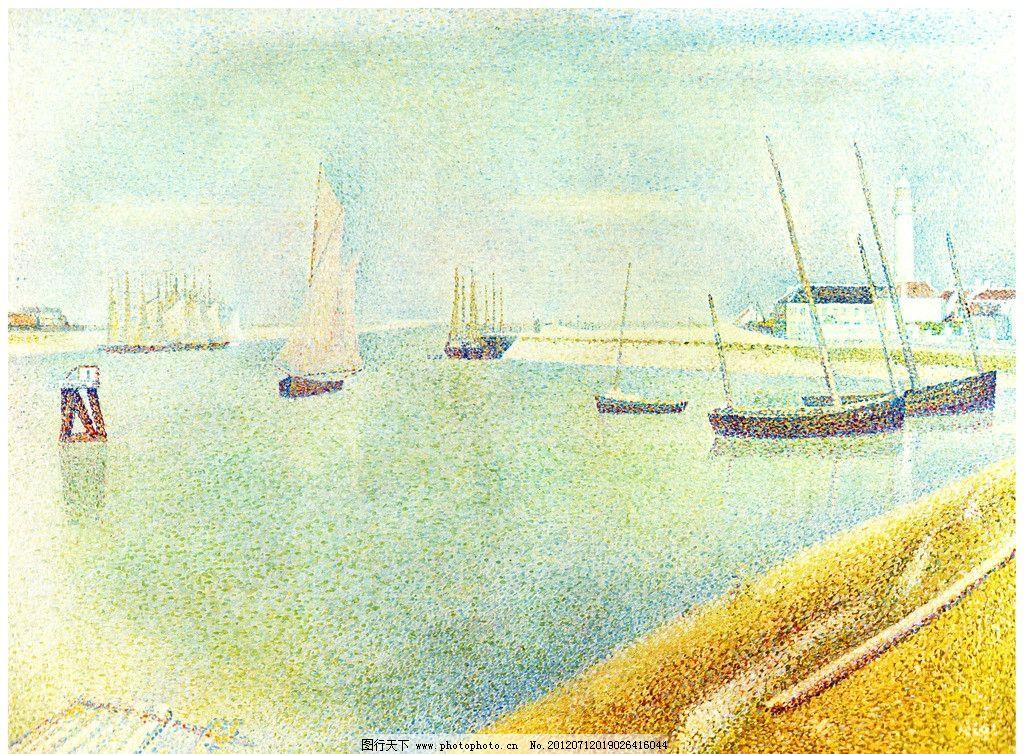 海上风景点彩油画图片