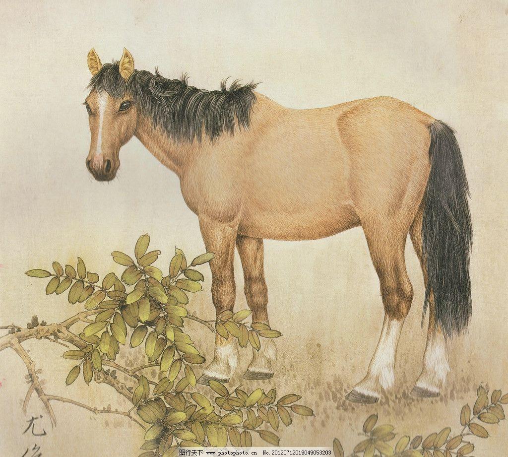 骏马图 工笔画 中国画 绘画 动物画 高清国画 骏马 绘画书法 文化艺术