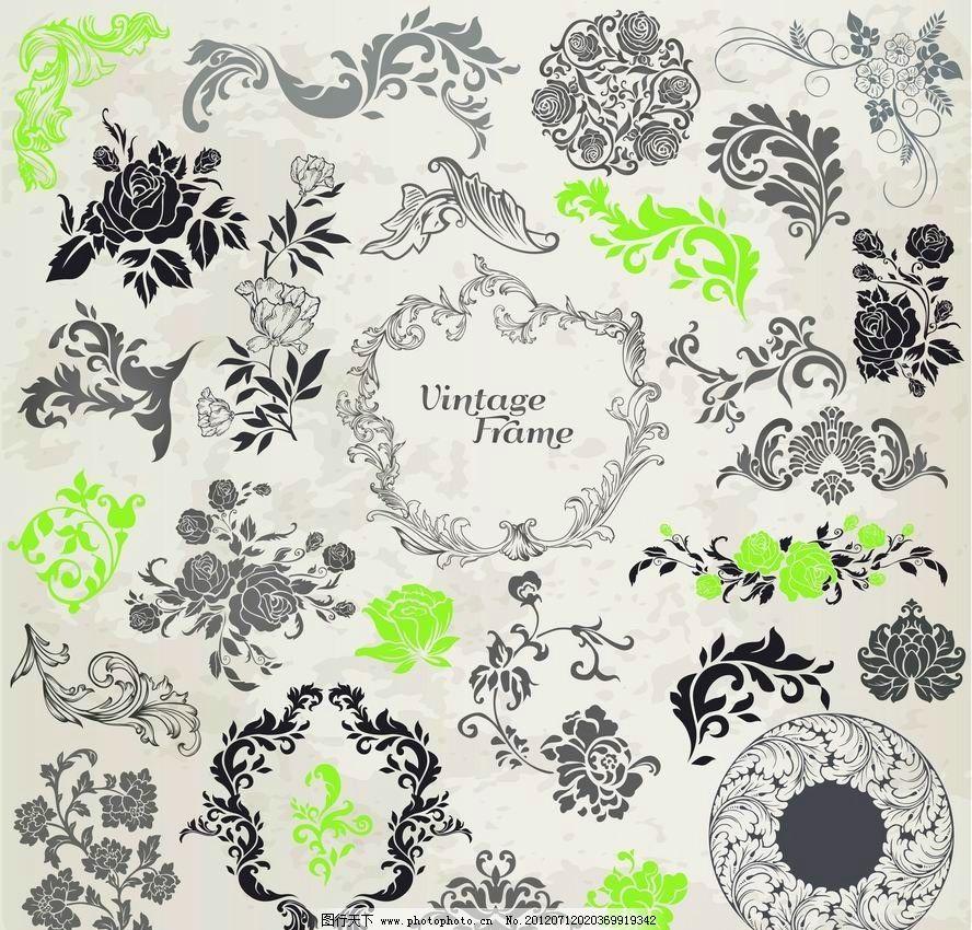 欧式花纹 古典花纹 边框 花边 花朵 花卉 鲜花 角花 时尚花纹