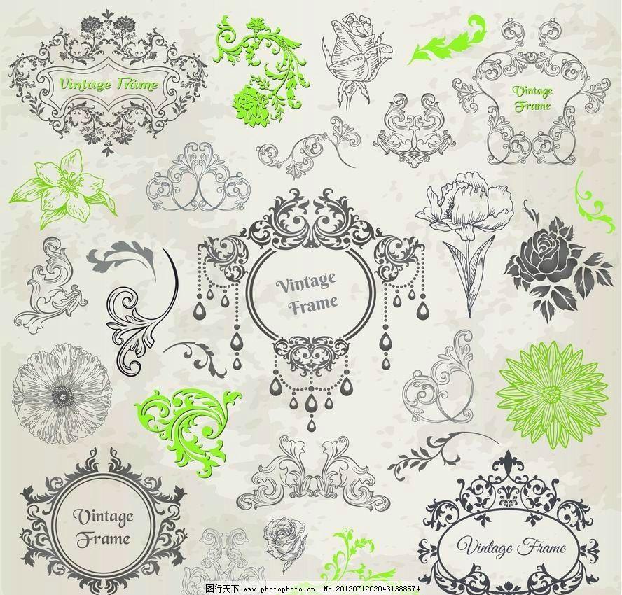 欧式花纹 古典花纹 边框 鲜花 花边 玫瑰 浪漫 花朵 花卉 角花