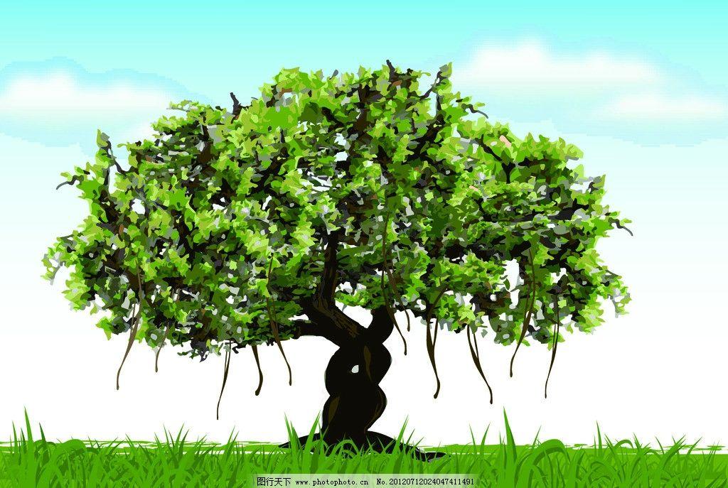榕树 自然景观 手绘 自然风景 矢量 ai