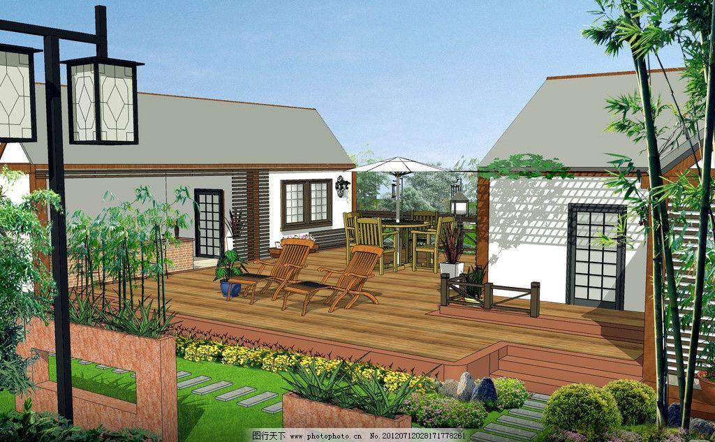 小别墅 后院 景观 建筑 农家乐 绿化 鸟瞰 效果图