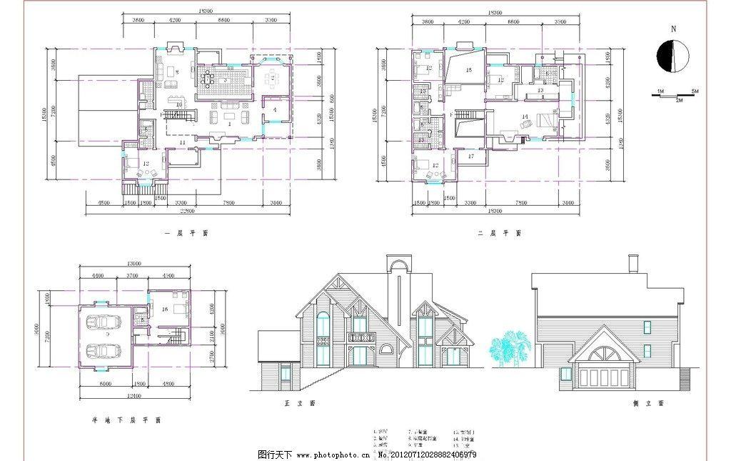 欧式n型半地下二层别墅户型图图片
