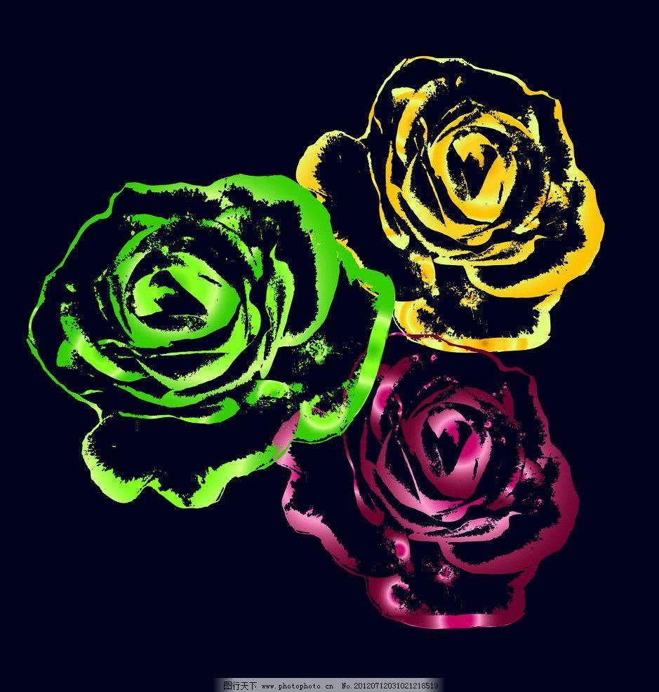 玫瑰花 彩色线描图图片
