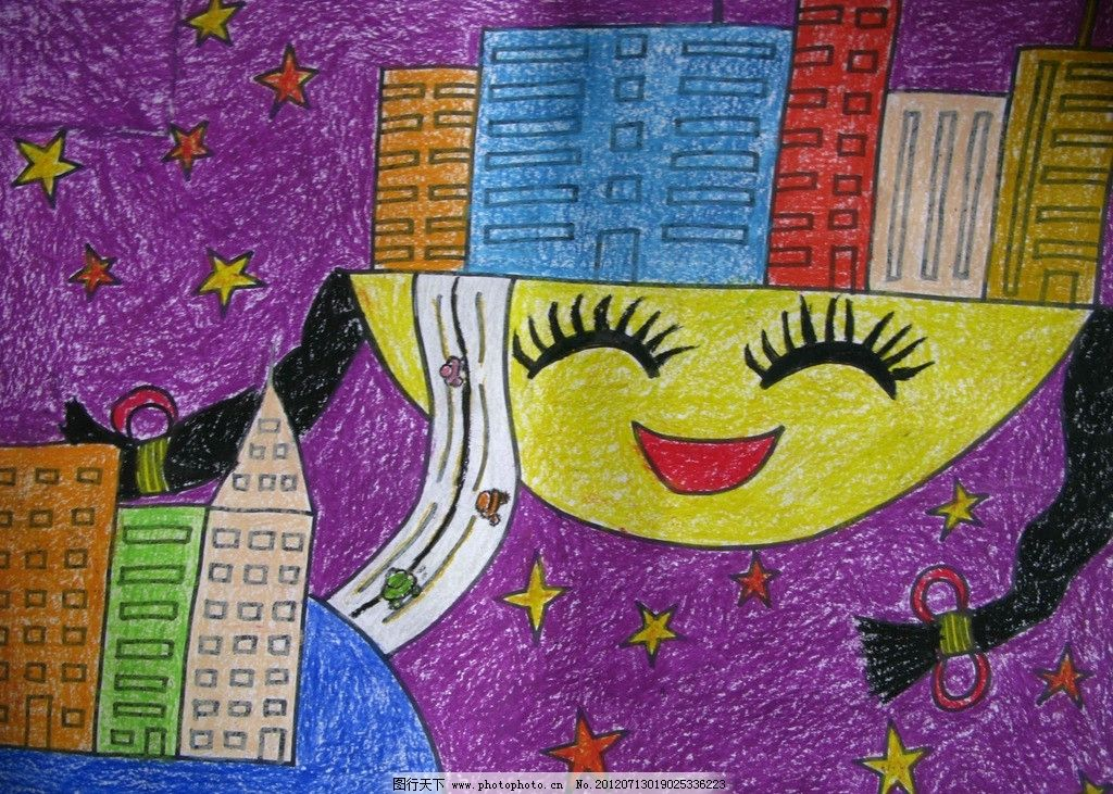 儿童画 小女孩 楼房 月亮 绘画书法 文化艺术 设计 96dpi jpg