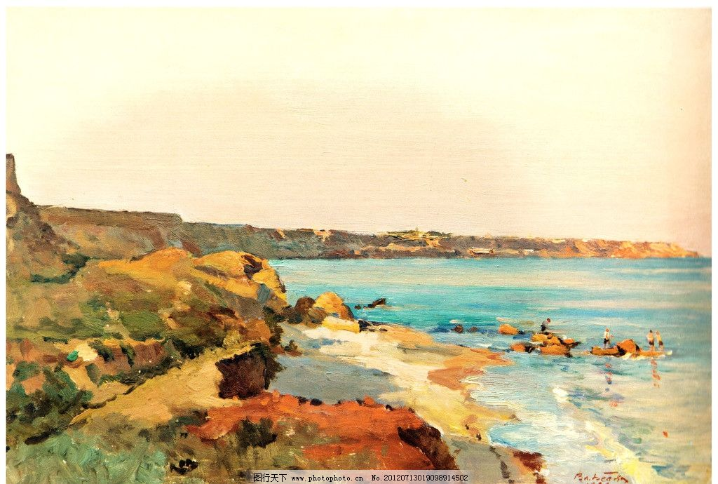 海边风景油画图片_绘画书法