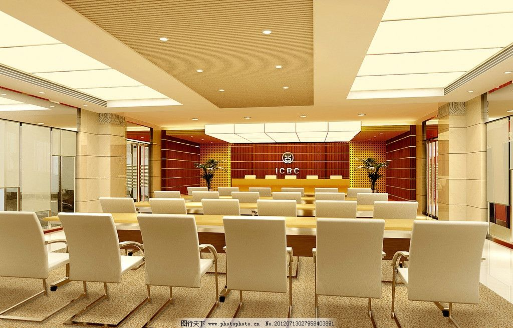 会议室效果图 室内装修效果图 桌子 高背椅 会议室 落地窗 室内设计