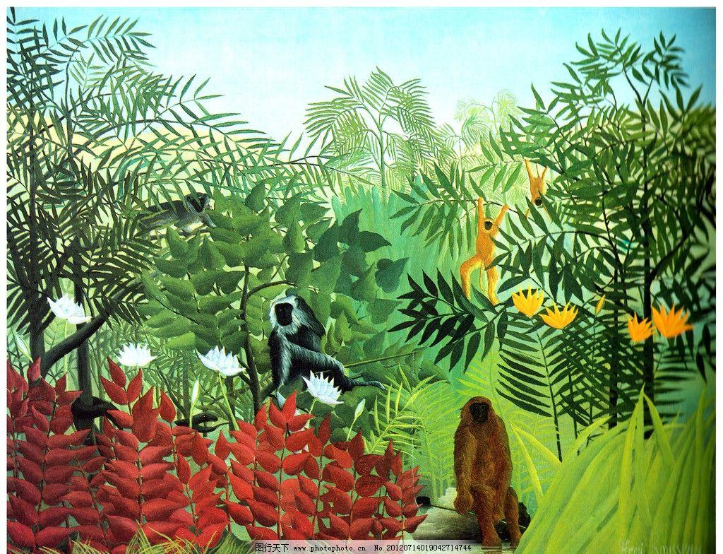 森林风景油画 森林公园油画