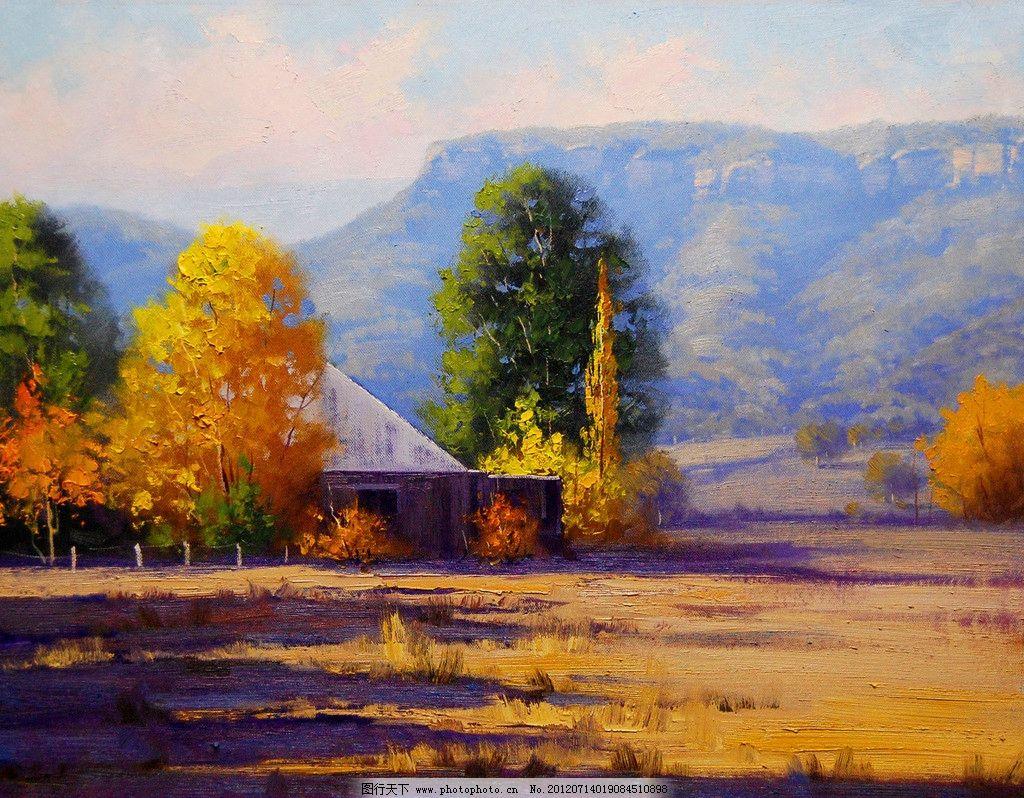 油画 农场木屋 油画风景 绘画 艺术 油画艺术 农场 小屋 木屋 树木
