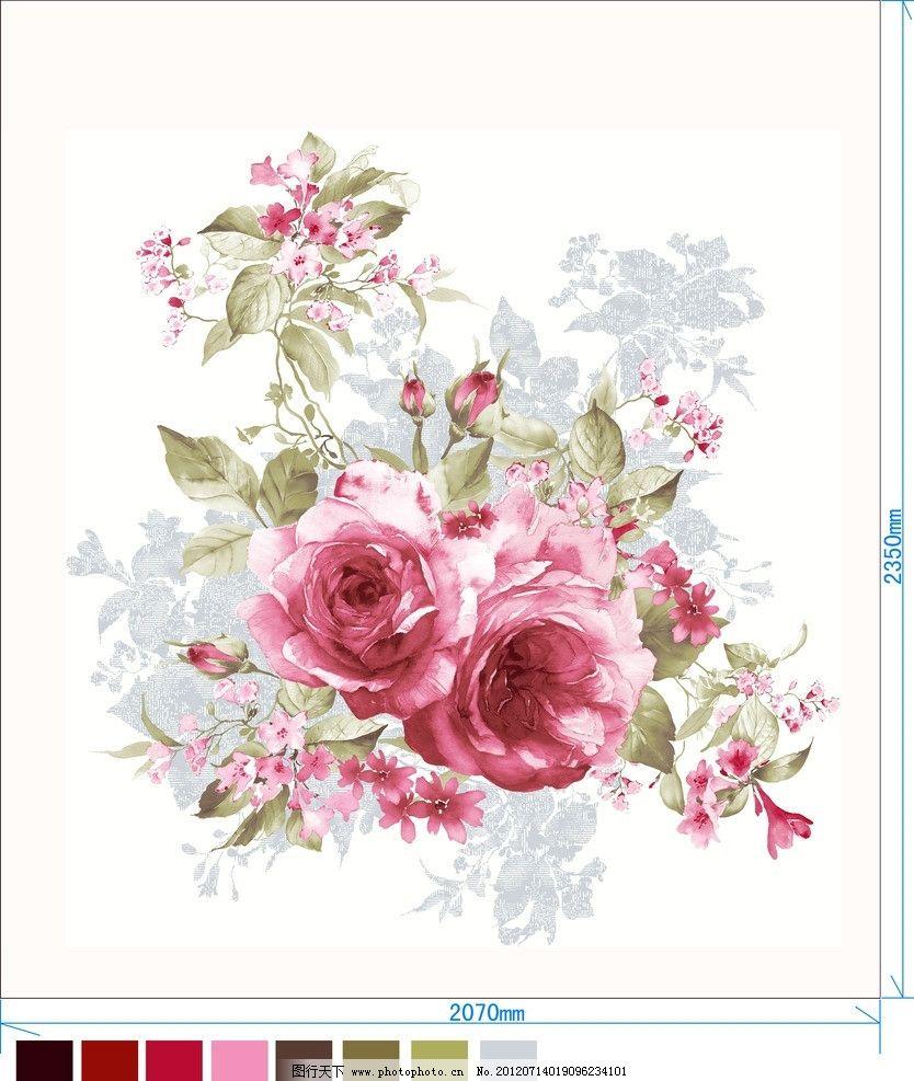 家纺图案设计图 家纺用品图案设计 花图案 家纺图案 韩式花卉图案 床