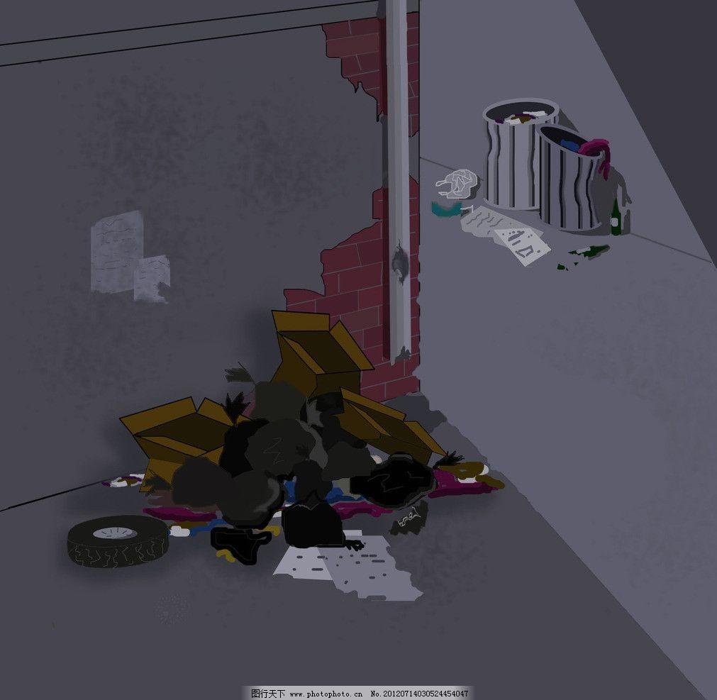 黑夜中的 垃圾堆 晚上 黑夜 垃圾桶 垃圾 风景漫画 动漫动画 设计 300