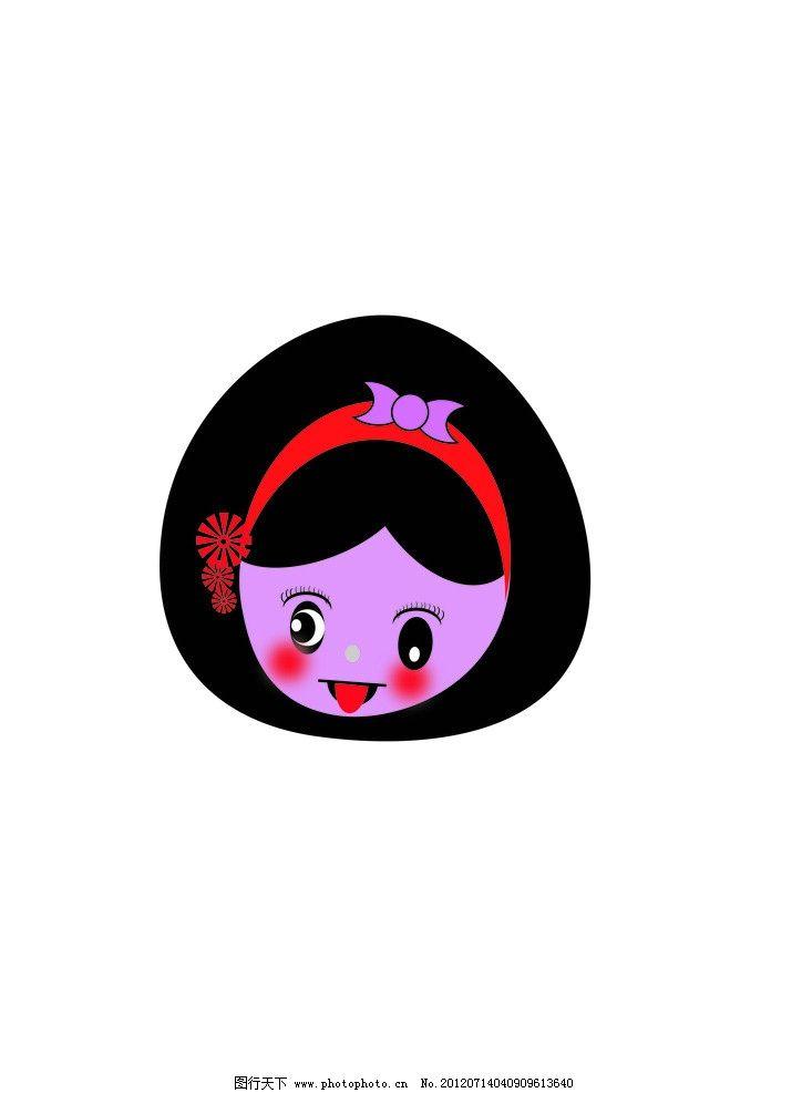 女孩 蝴蝶结 发卡 红色发卡 红色小花 卡通女孩 儿童幼儿 矢量人物