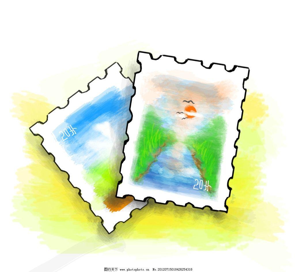 个性邮票 手绘 漫画 风景 动漫动画