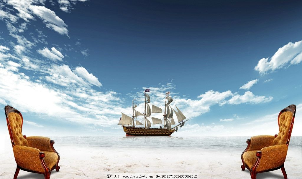 自然风光  唯美意境图 唯美意境 蓝天白云 欧式椅子 帆船 沙滩 高清图片