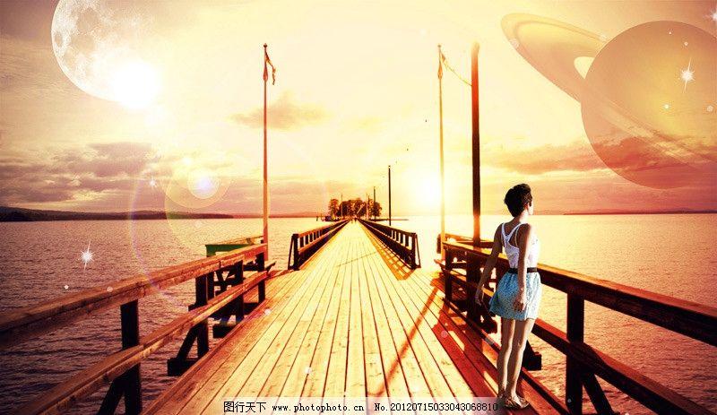海报美女图片,迎风风景背景土星梦幻环海上长野兽与欧美美女图片