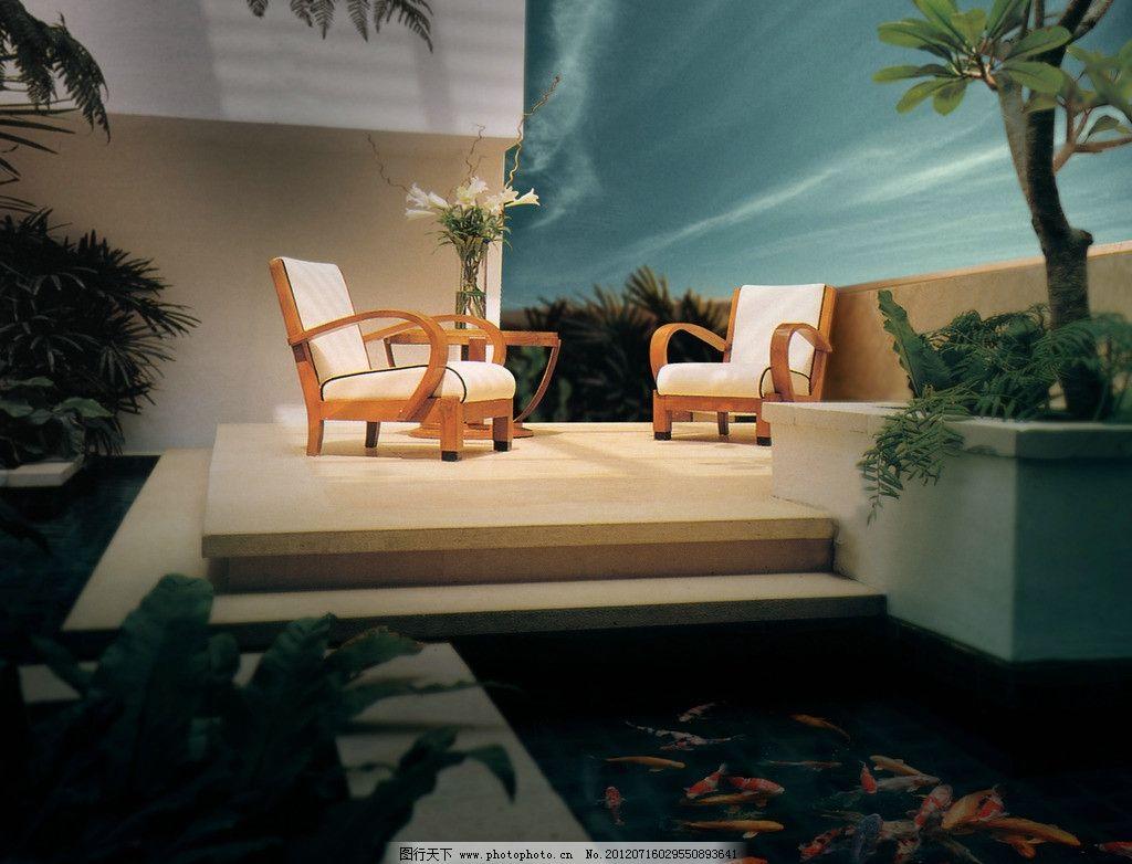 房地产广告 别墅 欧式 树 植物 花草 金鱼 水池 沙发 桌椅